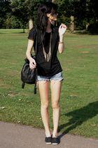 black Decatholon plims shoes - blue DIY shorts - black pull&bear top