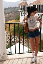 white Converse shoes - white River Island top - brown Joshua Taylor bag