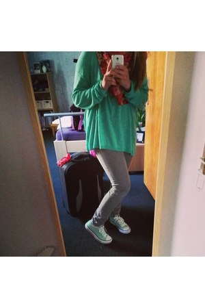 silver jeans - aquamarine sneakers