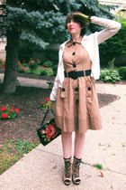 green grandmothers vintage gloves - brown modcloth boots - brown modcloth dress
