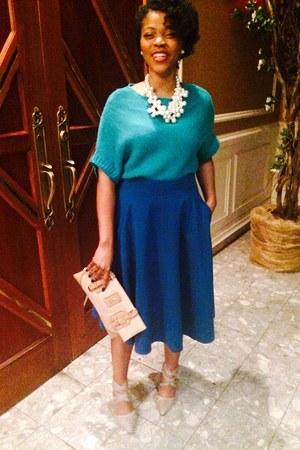 teal a-line skirt H&M shirt