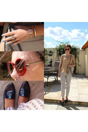 light pink bag - brick red sunglasses - eggshell Zara pants - navy Zara flats