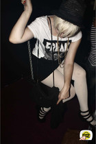black Zara shoes - white Sixpack France t-shirt - black Claires hat - black Vogu