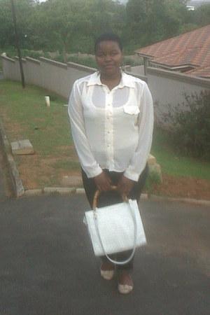 white vintage bag - black Woolworths jeans - cream chiffon vintage blouse
