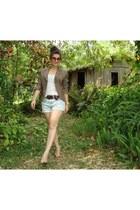 light brown blazer - navy shorts - white t-shirt
