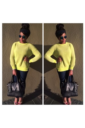 Macys sweater - Forever 21 purse - Retro City Sunglasses sunglasses - DSW heels
