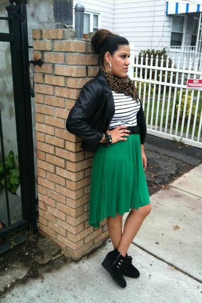 knit Target skirt - black leather H&M blazer - leopard Forever 21 scarf