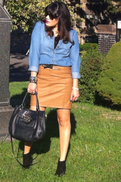 faux leather Forever 21 skirt - suede Diba boots - denim Forever 21 shirt