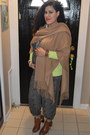 Brown-cutout-bamboo-boots-lime-green-macys-cardigan