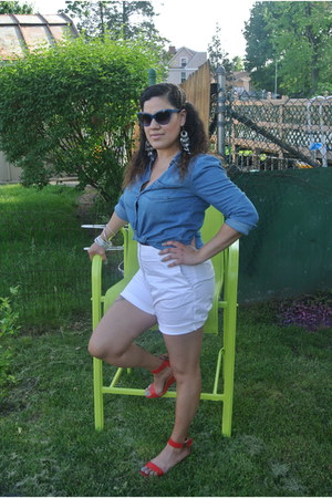 red Prabal Gurung wedges - navy denim Forever 21 shirt - white cotton H&M shorts