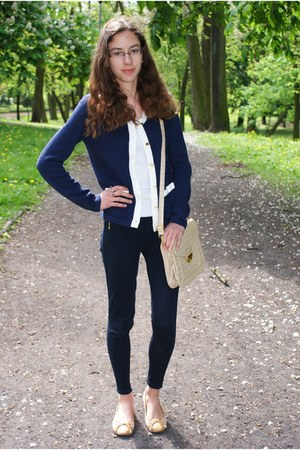 navy H&M cardigan - navy Zara leggings - cream loliqpl bag