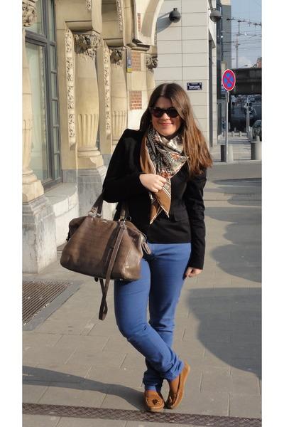 blue skinny Bimba & Lola jeans - black SANDRO blazer - bronze silk-y vintage sca
