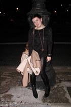 black Bimba&Lola boots - black H&M leggings - black Bimba&Lola t-shirt - camel M