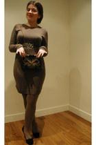 light brown Mango dress - gold Pepe Jeans belt - black Bimba&Lola heels - black