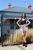 Sportsgirl skirt - Junk Clothing skirt - boots boots - ray-ban sunglasses