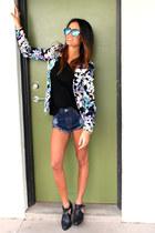 Fox Forre blazer - Senso boots - One Teaspoon shorts - sabo skirt top