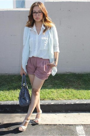 American Apparel blouse - Kimchi&Blue shorts - H&M cardigan - Guess heels