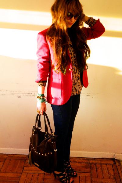 red thrifted blazer