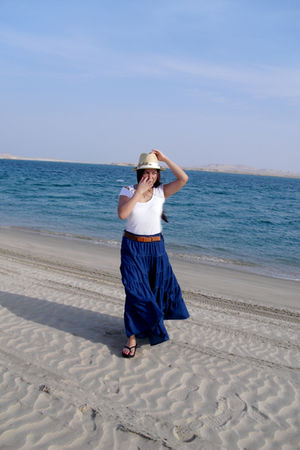 beige River Island hat - white H&M blouse - brown SO Fab belt - blue Maxi Skirt