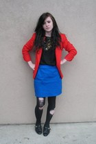 thrifted shoes - vintage blazer - thrifted top - handmade skirt