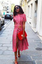 red Olivier Theyskens dress - red hello kitty Victoria Couture bag