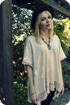 black H&M hat - cream H&M top - blue silver vintage necklace