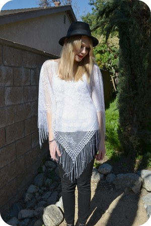 black H&M hat - white lace vintage cape - black H&M pants