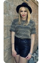 black H&M hat - black leather vintage shorts - gold black vintage top