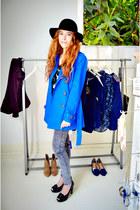 blue Stradavarius coat - black H&M hat
