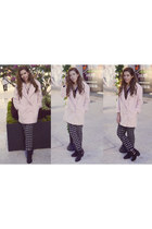 light pink asoscom coat - black harem Forever 21 pants
