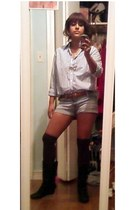 lemon grass shirt - Forever 21 shorts - DIY boots - HUE socks - vintage belt