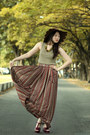 Ethnic-maxi-skirt-dark-brown-scallop-asos-hat-maroon-tribute-ysl-heels