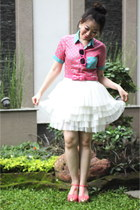 bubble gum polka dot shirt custom made shirt - white tutu custom made skirt