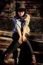Black-random-brand-hat-black-urban-outfitters-top-blue-random-brand-jacket-