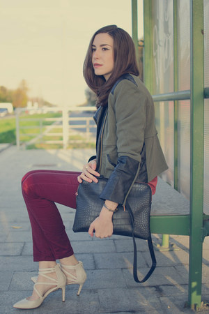 cream Deichmann shoes - olive green MiniTake jacket - burnt orange Bershka shirt