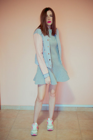 white Deichmann shoes - periwinkle milanoo dress - silver jacket