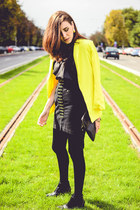 black H&M boots - yellow Sheinside blazer - black Front Row Shop top