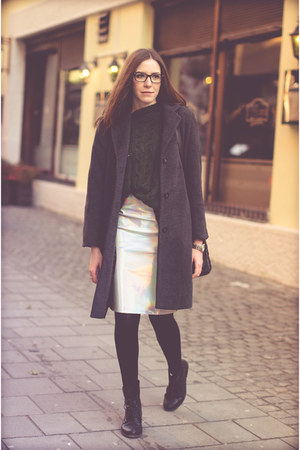 gray thrifted coat - forest green Zara sweater - silver Front Row Shop skirt
