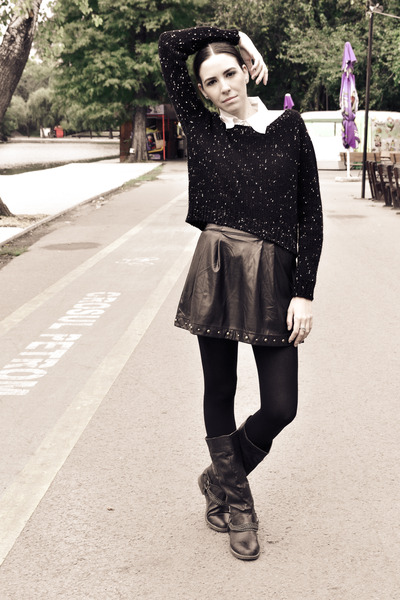 black Stradivarius skirt - black miniprix boots - black Stradivarius sweater