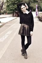 black Stradivarius skirt - black miniprix boots - black Stradivarius sweater