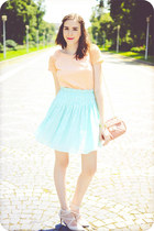 aquamarine Front Row Shop skirt - beige Deichmann shoes - nude Pimkie shirt