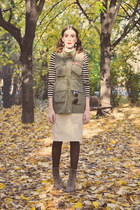 Choies vest - Deichmann boots - Kensol skirt - REDFOX blouse