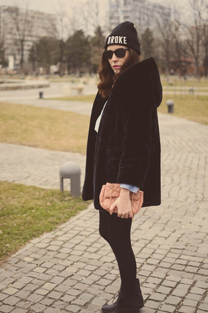 black moa boots - black JollyChic coat - black c&a hat - sky blue H&M shirt