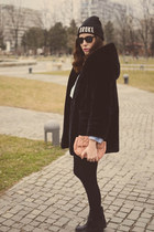 black moa boots - black JollyChic coat - black c&a hat - sky blue H&M shirt