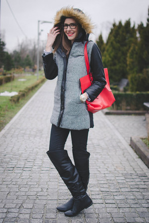 black Tally Weijl boots - black Buyingdress jacket - red Zara bag