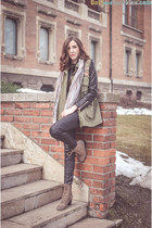 dark khaki Deichmann boots - black PERSUNMALL jacket - brown Takko sunglasses