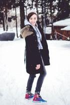 silver no name hat - black Takko coat - charcoal gray Kiabi jeans