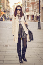 black Tally Weijl boots - black Stradivarius boots - cream Orsay coat