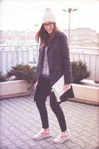 black Mango coat - white Pimkie hat - silver Blue Vanilla sweater