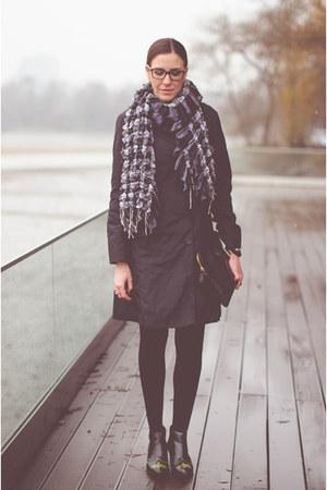 black H&M boots - black romwe dress - black Mango coat - teal Zara shirt